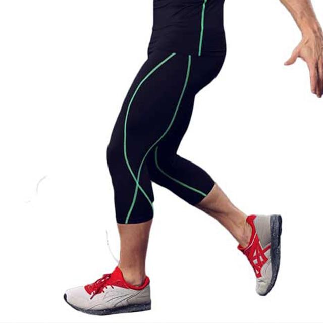Hommes Collants Running GYM Capri Pro Compresser Legging Pantalon  Musculation Yoga Exercice Fitness Workout Vêtements Exercice 9ecc0f96cee