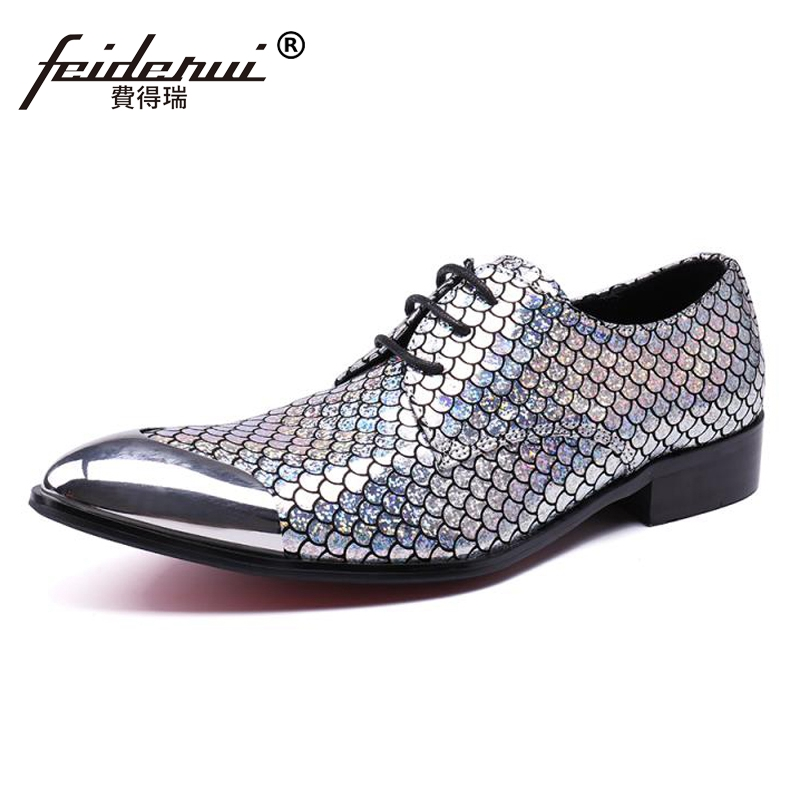 Plus Size Silver Pointed Toe Derby Man Footwear Luxury Designer Genuine Leather Gillter Wedding Party Men's Runway Shoes SL42 plus size fashion pointed toe derby man runway footwear italian designer patent leather wedding party men s runway shoes sl435