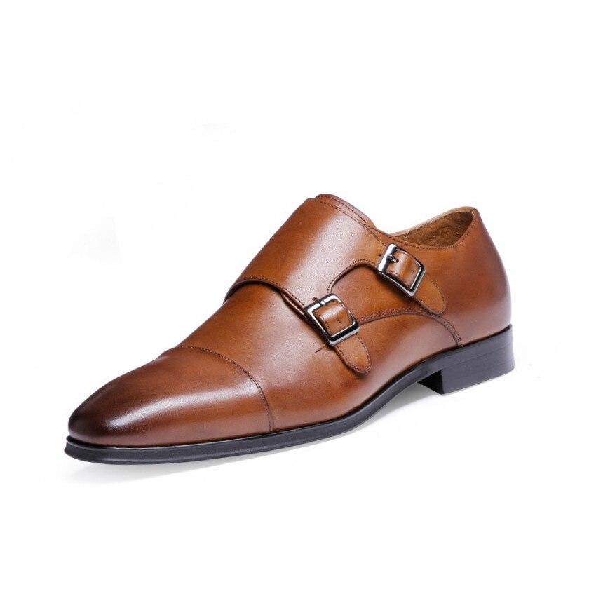 Hommes chaussures formelles de luxe en cuir véritable hommes Oxford chaussures bout pointu hommes chaussures habillées boucle mâle chaussures de mariage erkek ayakkabi