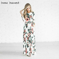 Irene Inevent Summer Women Floral Print Wrist Sleeve Empire Waist Boho Dress Femme Vestidos Ladies Party