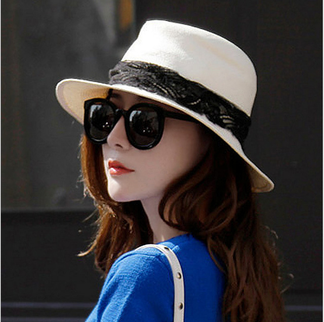 Sombreros de primavera y verano de encaje sombrero de sol de Moda las mujeres sombrero para el sol Playa del sombrero del sol
