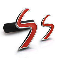 Car Sticker Grill Emblem Grille Badge For Mini Cooper S Letter Metal Red 2 Sizes Tuning