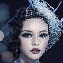 MS шин невесты аксессуары для волос белый марли вуаль головной убор перья волос смычка шпилька черный белый фиолетовый красный 1 шт.