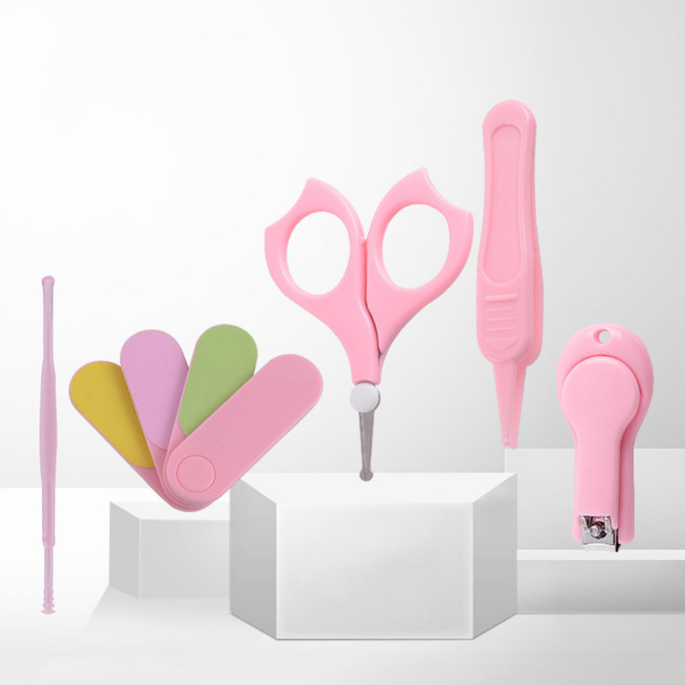 New Lovely Mini 5-Piece Baby Nail Clipper Set Infant Nail Care Kit pink drop shipping