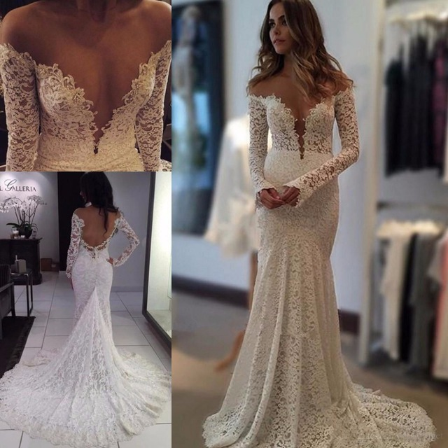 6c56da64c7fd MZY0207 Sexy Off Shoulder Berta Lace Backless Long Sleeve Boho Mermaid Wedding  Dress Bridal Gown Vestido De Noiva Custom Made