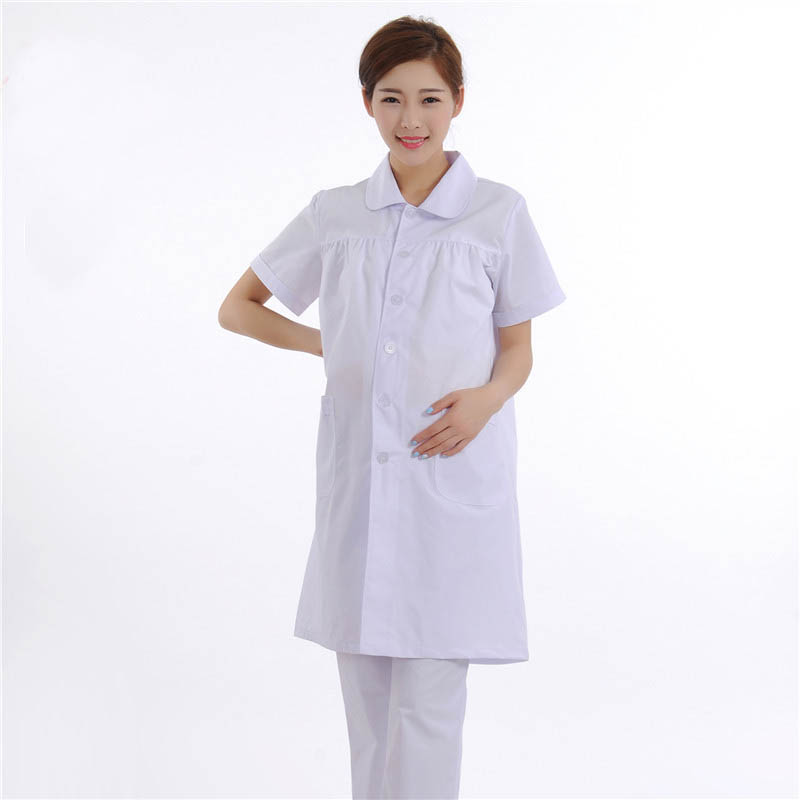 White Short-Sleeved Summer Nurse Suit Maternity Medical Dress Pregnant Women Uniforms Beauty Services Workwear
