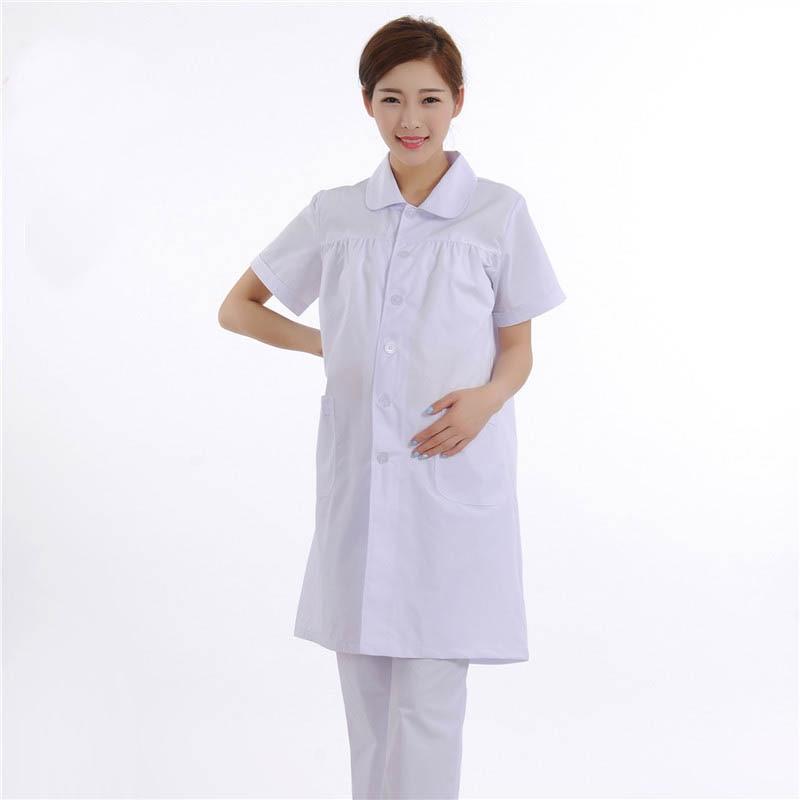 White Short-Sleeved Summer Nurse Suit Maternity Medical Dress Pregnant Women Uniforms Beauty Services Workwear