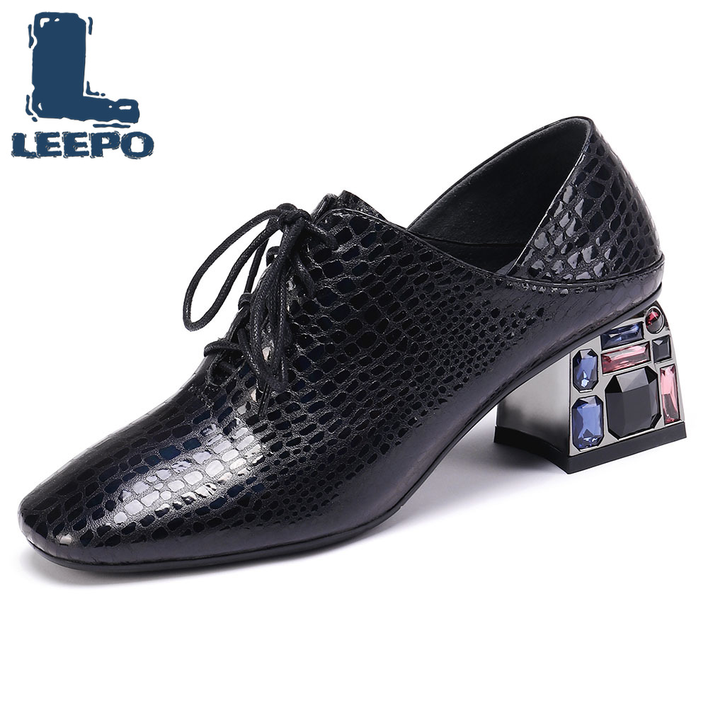LEEPO Pumps Shoes Women Genuine Leather High Heels Fashion Brogues Ladies Lace Up Pumps Woman Square
