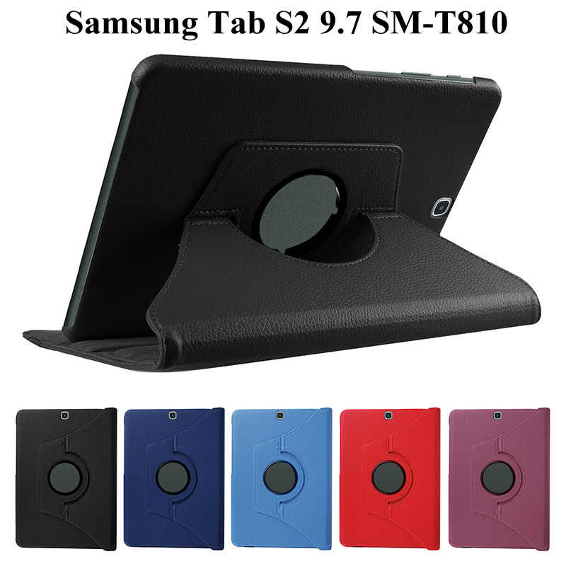 360 Roterende Case voor Samsung Galaxy Tab S2 9.7 T810 T815 SM-T810 PU Opvouwbare Stand Smart Cover Voor tab S2 9.7 inch case + Film + Pen