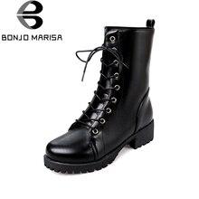 BONJOMARISA 2017 D'hiver De Mode Dentelle-Up Chaud mi-mollet Moto Bottes Plate-Forme Med Carré Talon Femmes Chaussures Grande taille 34-42