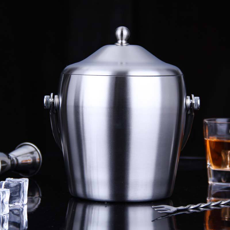 High Quality double wall stainless steel ice bucket with handle Practical Bar Container Barrel Beer Wine Cooler Champagne KegHigh Quality double wall stainless steel ice bucket with handle Practical Bar Container Barrel Beer Wine Cooler Champagne Keg