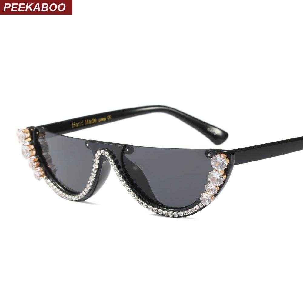 Peekaboo de la moda de Marco medio de montura de ojo de gato gafas de sol 01aeee63311a