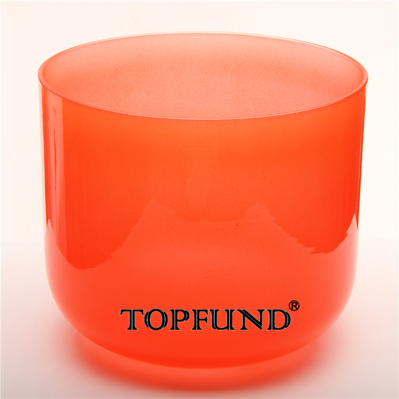 TOPFUND Red Color Clear C#+10 Note Adrenals Chakra Quartz Crystal Singing Bowl 11'' With Free Mallet and O-Ring