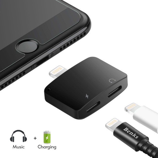 Benks 2 Lightning Audio Adapter For iPhone X 7 8 Plus headphone adapter for iphone 6s 3 In 1 Wireless Charging Aux Cable Splitte