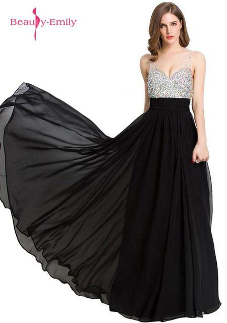 7d587050fcd Черные длинные шифоновые вечерние платья трапециевидной формы с v-образным  вырезом без рукавов с открытой