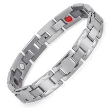 Jewelry New Sale Men Stainless Steel Silver Magnet Hand Decoration Health Bracelet