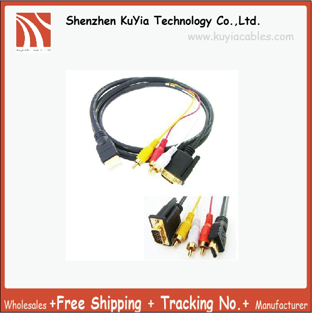 Free Shipping ,Gold-plated HDMI to VGA HD15 3 RCA Video/Audio AV Cable ,High Speed ,Wholesale