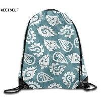 3D Print Conch Pattern Shoulders Bag Women Fabric Backpack Girls Beam Port Drawstring Travel Shoes Dust