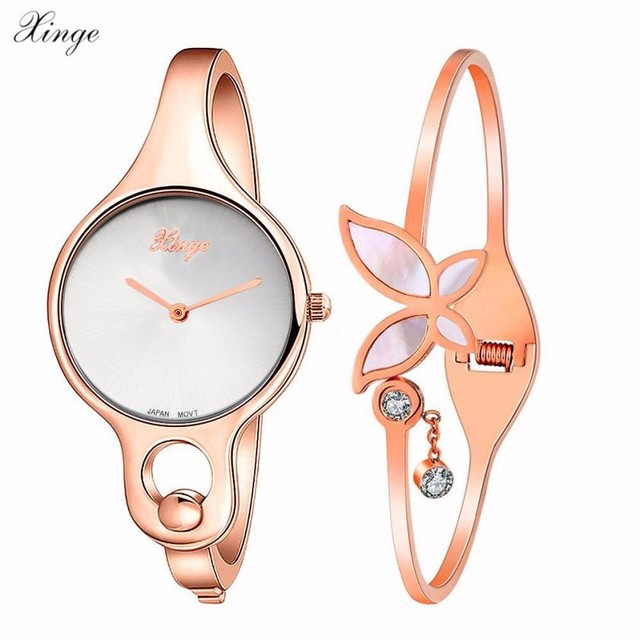 67c7b7db8f2 XINGE Mulheres de Luxo Ultra Fino de Aço Inoxidável Relógio de Pulso em  Ouro Rosa borboleta