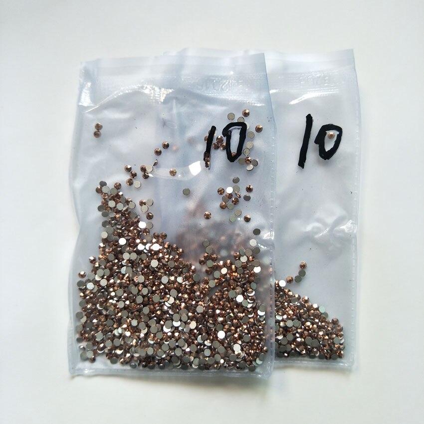 1440 шт Плоские с оборота кристаллы для ногтей Стразы для ногтей 3D дизайн ногтей украшения SS3-SS12 DIY стеклянные драгоценные камни AB прозрачный розовое золото - Цвет: 1 pack SS10 RG 1440