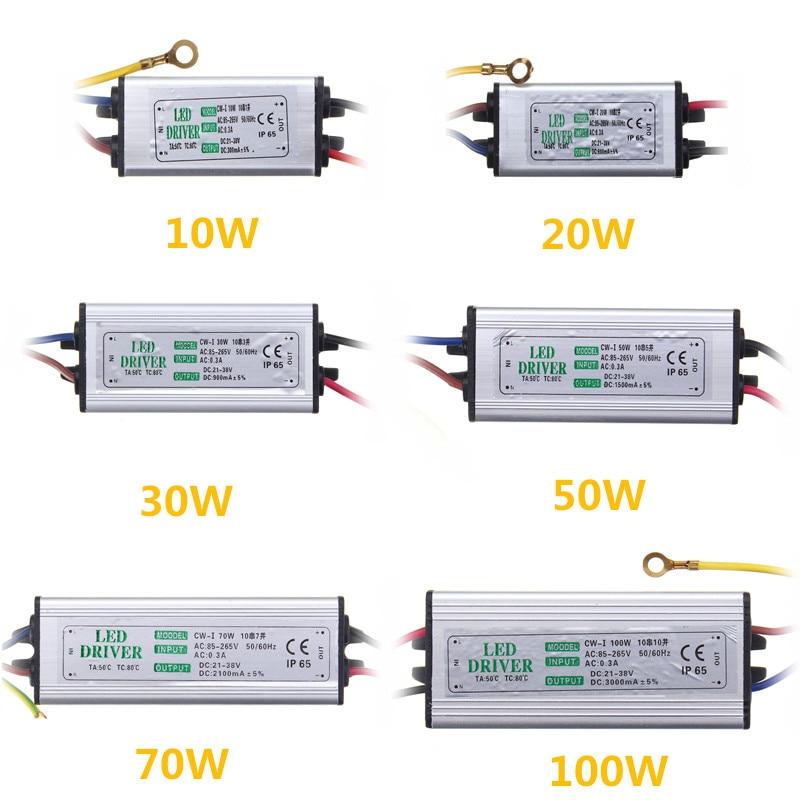 Jiguoor 10W 20W 30W 50W 100W 방수 높은 전원 공급 장치 LED 드라이버 AC85-265V 입력 전자 LED 드라이버 변압기
