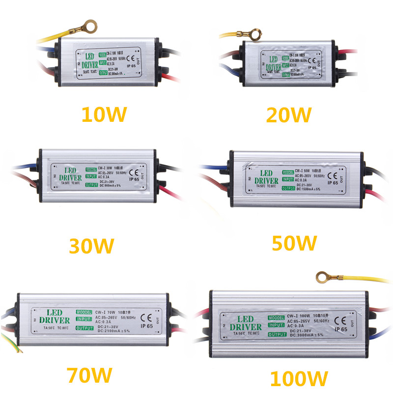 Jiguoor 10W 20W 30W 50W 100W Waterproof High Power Supply LED Driver AC85-265V Input Electronic LED Driver Transformer