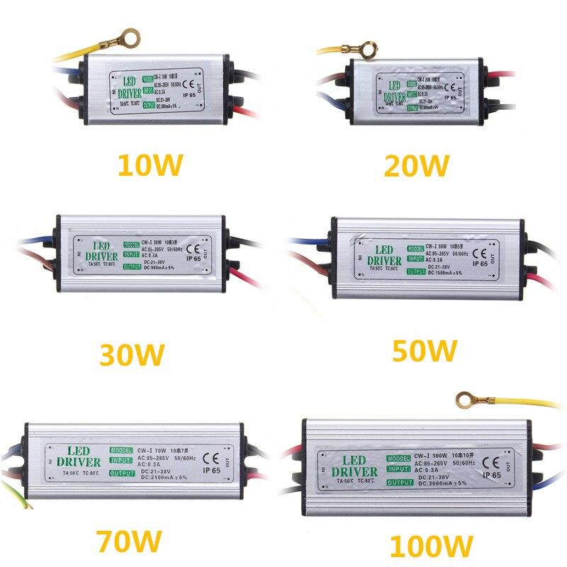 Jiguoor 10W 20W 30W 50W 100W su geçirmez yüksek güç kaynağı ledi sürücü AC85-265V giriş elektronik LED sürücü dönüştürücü