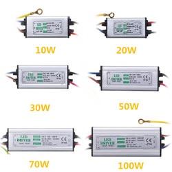 Jiguoor 10W 20W 30W 50W 100W wodoodporna duża moc zasilania LED sterownik AC85 265V wejście elektroniczny adapter uniwersalny do lcd w Transformatory oświetleniowe od Lampy i oświetlenie na