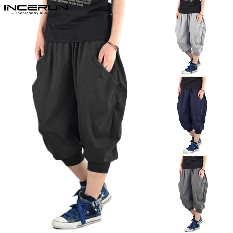 INCERUN Solid Color Men Sweatpants Harem Pant Hiphop Calf Length Pants For Men Baggy Loose Fitness Jogger Dance Elastic Cuff 5XL