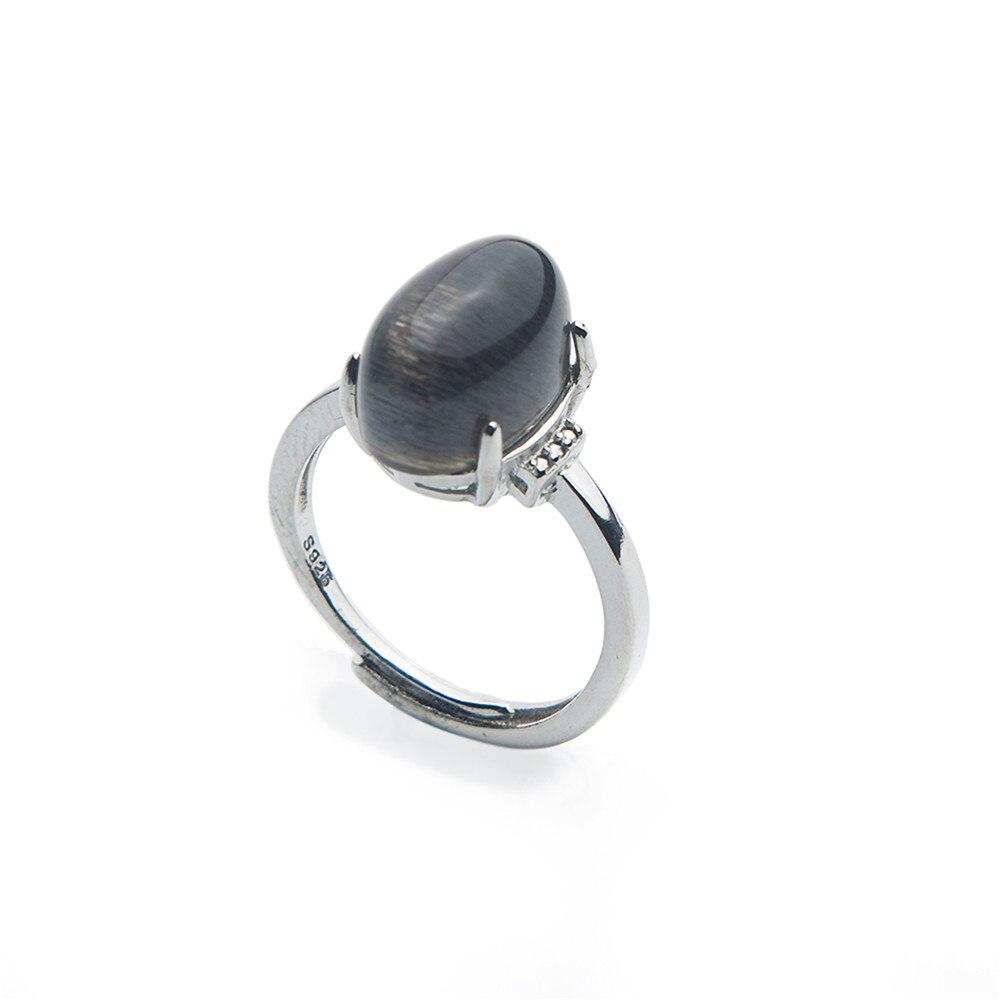 Véritable gemmes anneaux 925 en argent Sterling mode cristal perles ovales naturel noir anneau de pierre de soleil trouver des bijoux