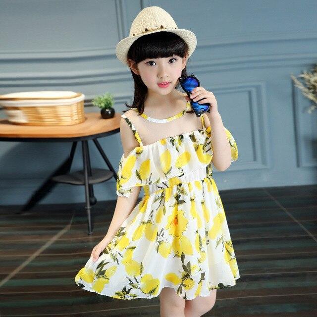 4c648b4e041 2017 Gulugulumi New Design Baby Girls Summer Dresses Off Shoulder Ruffles  O-Neck Lemon Print Dress Kids Fashion Chiffon Dresses