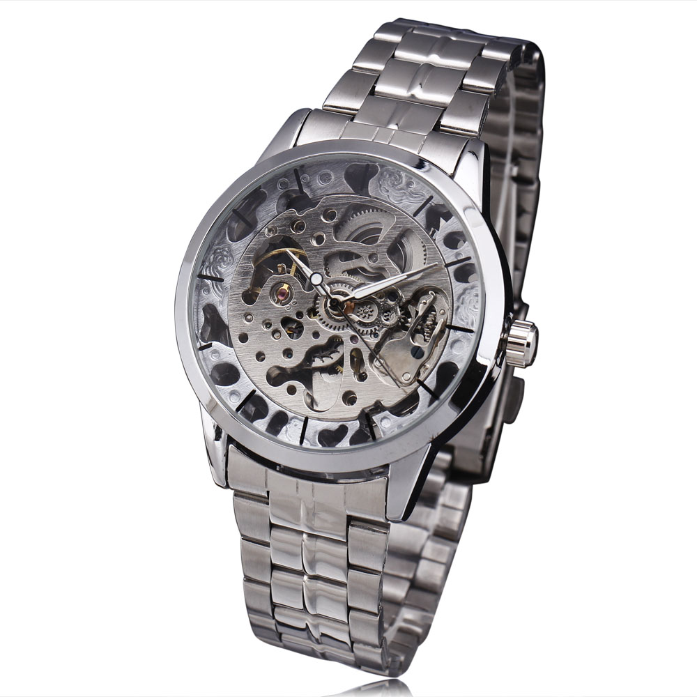 New Fashion WINNER Dress Men GoldenSilver Stainless Steel Strap Clock Business Male Gift Skeleton Automatic Mechanical Watch