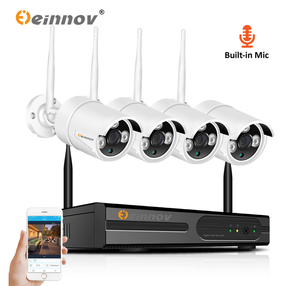 Einnov 4CH 1080 P 2MP HD Wireless NVR Wifi Della Macchina Fotografica di Sicurezza Domestica CCTV IP di wifi Della Macchina Fotografica Impermeabile Sistema Audio Video di sorveglianzaEinnov 4CH 1080 P 2MP HD Wireless NVR Wifi Della Macchina Fotografica di Sicurezza Domestica CCTV IP di wifi Della Macchina Fotografica Impermeabile Sistema Audio Video di sorveglianza