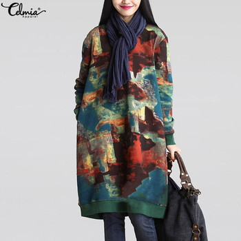 2018 Celmia Women Autumn Long Sleeve Print Vintage Dress Winter Velvet Pockets Casual Loose Midi Dresses Oversized Plus Size 5XL