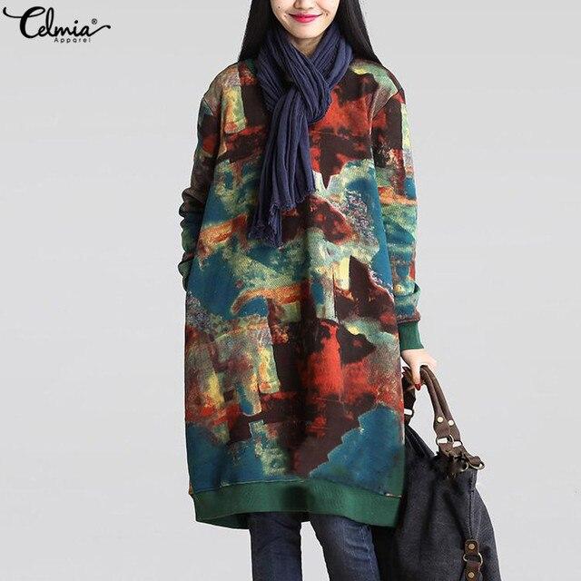 2018 Celmia Women Autumn Long Sleeve Print Vintage Dress Winter Velvet Pockets Casual Loose Midi Dresses Oversized Plus Size 5XL