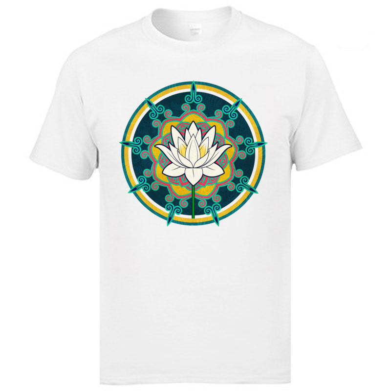 Summer Lotus O-Neck Top T-shirts April FOOL DAY Tops Tees Short Sleeve for Men Retro Cotton Personalized T Shirt Lotus white