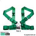 """Negro/Verde-4 PUNTOS 3 """"NYLON RACING CINTURÓN de seguridad ARNÉS de SEGURIDAD AJUSTABLE HEBILLA TK-AQD055TAPK"""