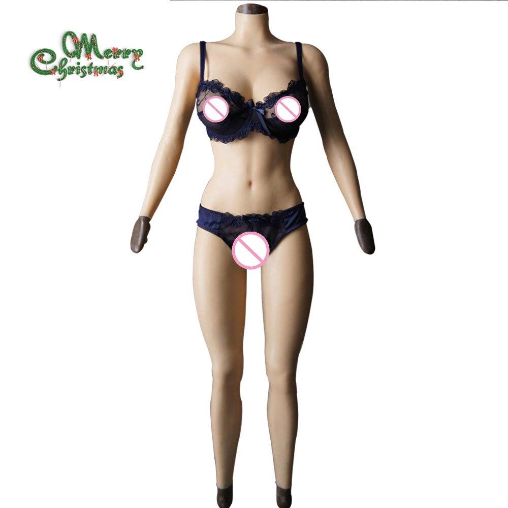 F tazza solido tette di silicone della vagina Tuta per Crossdresser con maniche e forma del seno Glutei pad del seno piatto falso figa