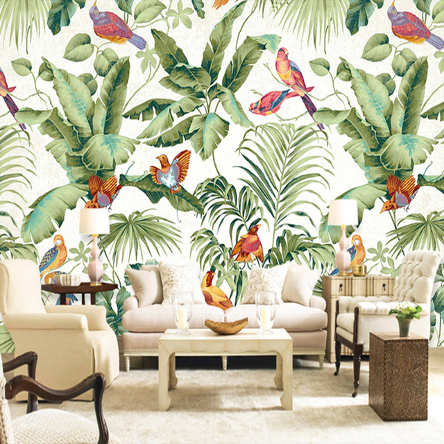 peinture murale personnalis e papier peint europ enne style tropical rainforest fleur oiseau. Black Bedroom Furniture Sets. Home Design Ideas