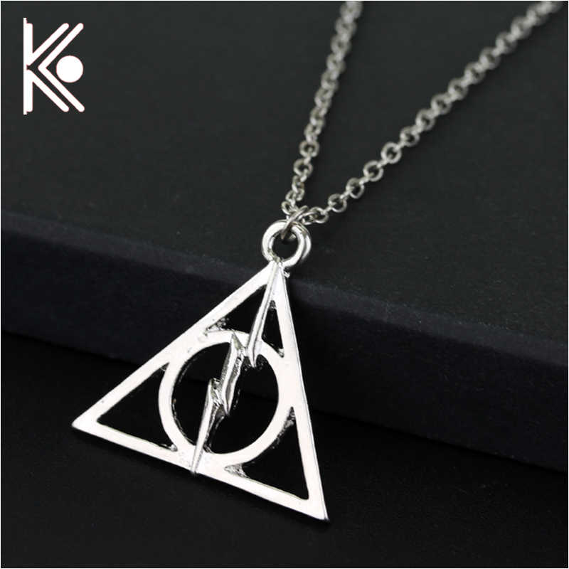 The deathly hallows necklace Triangle Pendants Necklaces For Women Men Charms