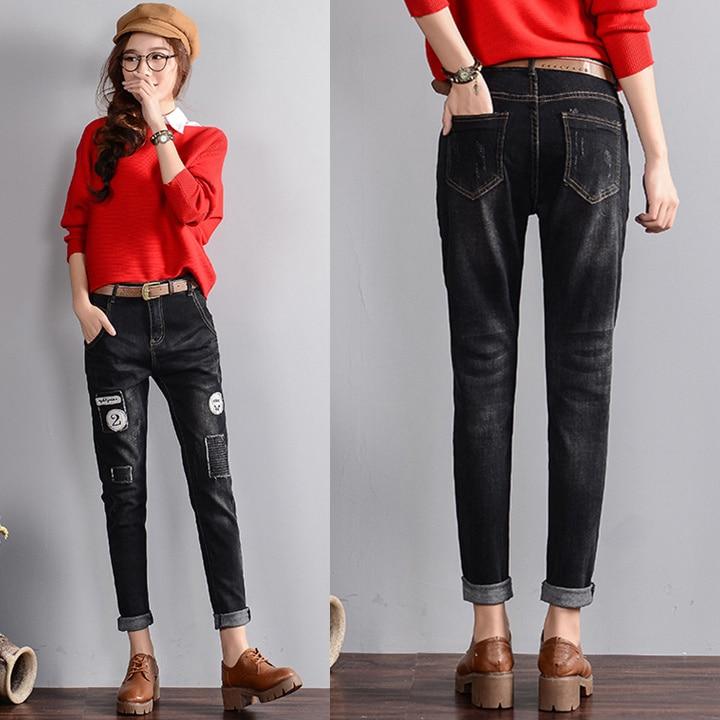 South Korea black denim pant waist loose pants jean girls appliques letters ankle length jeans