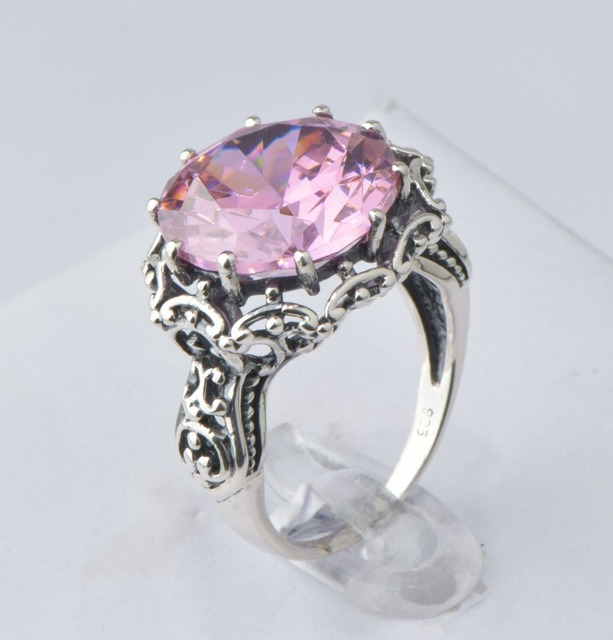 Vintage antique 2016 charm romantic natural pink ring design fashion zircon 925 sterling silver jewelry free shipping