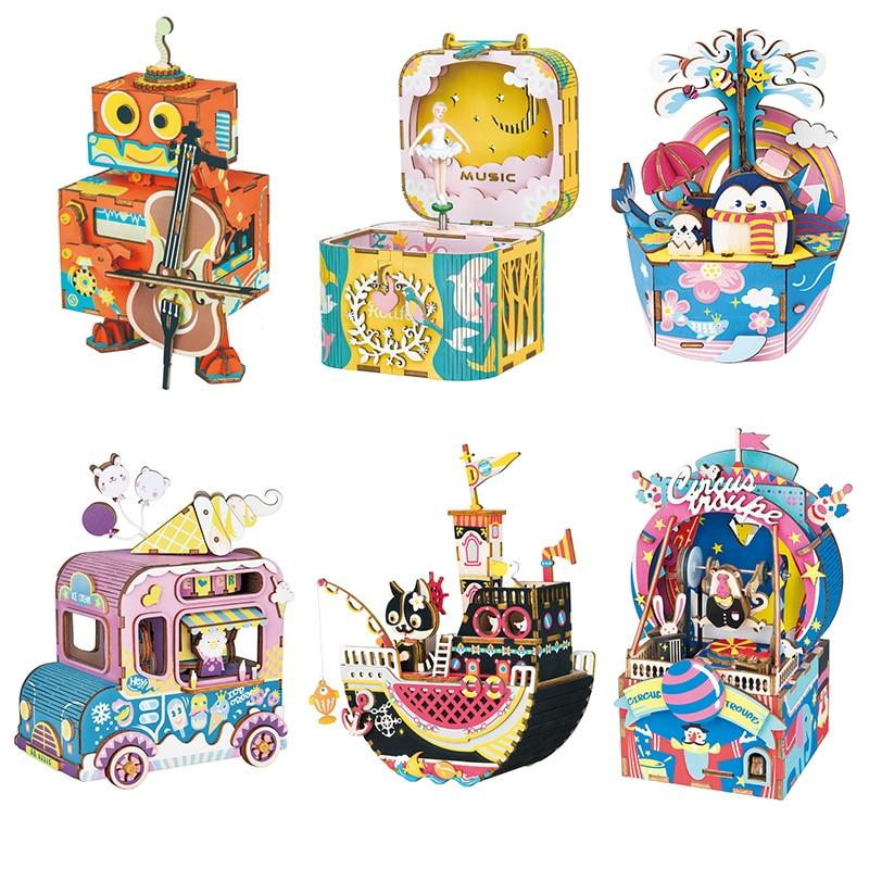 DIY Wooden Music Box Clockwork Handmade Crafts Home Decor Miniatures Figurines Birthday Gifts For Girlfriend WomenDIY Wooden Music Box Clockwork Handmade Crafts Home Decor Miniatures Figurines Birthday Gifts For Girlfriend Women