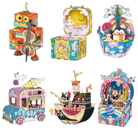 Robotime New Arrival DIY Cartoon Wooden Movable Music Box Clockwork Type Home Decor Christmas Gifts For Children Friends AMD