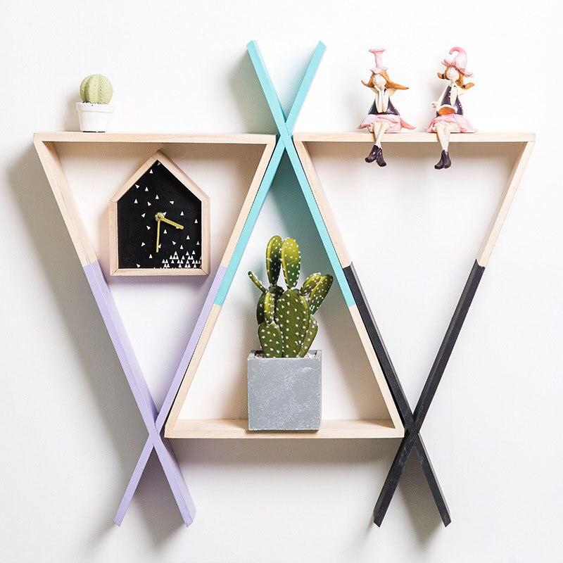 Us 18 73 25 Off Woodland Nursery Wooden Rack Shelf Wall Hanging Decoration Triangle Wood Furniture Toys Kids Room Scandinavian Decor 30x25x10cm In