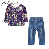 78227ba8a ARLONEET Clothes Newborn Baby Girls Camouflage Tshirt Top Denim Pants  Costume Kids High Quality 2019 Girls