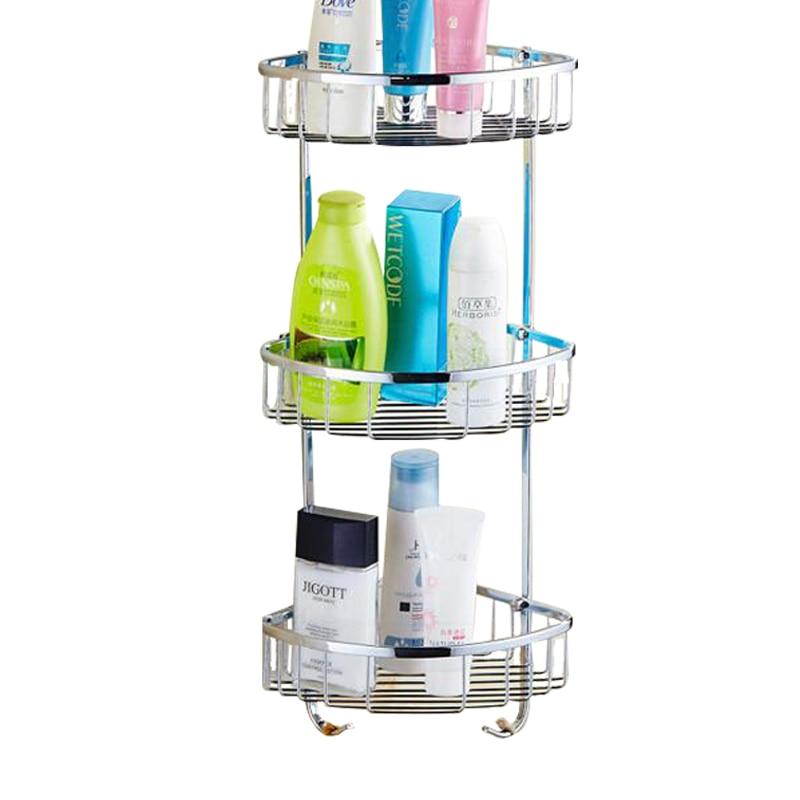 Stainless Steel Bathroom Shelf 3 Tiers Bath Shower Shelf Bath Shampoo Holder Basket Holder Corner Shelf Chrome Bathroom Product Полка