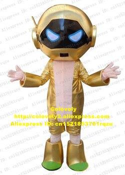 スマート黄金エイリアンロボットautomatonマスコット衣装漫画のキャラクターマスコット大人のブルー目黄金の服靴no.zz2129