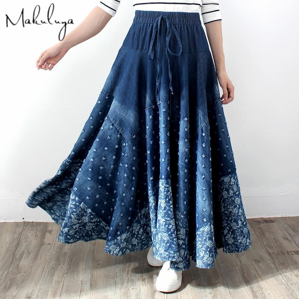 Makuluya Spring Autumn Women's Vintage Ethnic Lattice Printing Bohemian Spliced Thin Denim Cotton Long Pleated Hole Skirts L6