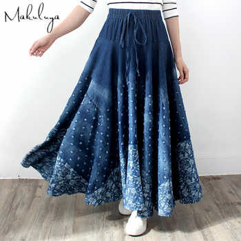 Makuluya Spring Autumn Women's Vintage Ethnic Lattice Printing Bohemian Spliced Thin Denim Cotton Long Pleated Hole Skirts L6 - DISCOUNT ITEM  41% OFF All Category
